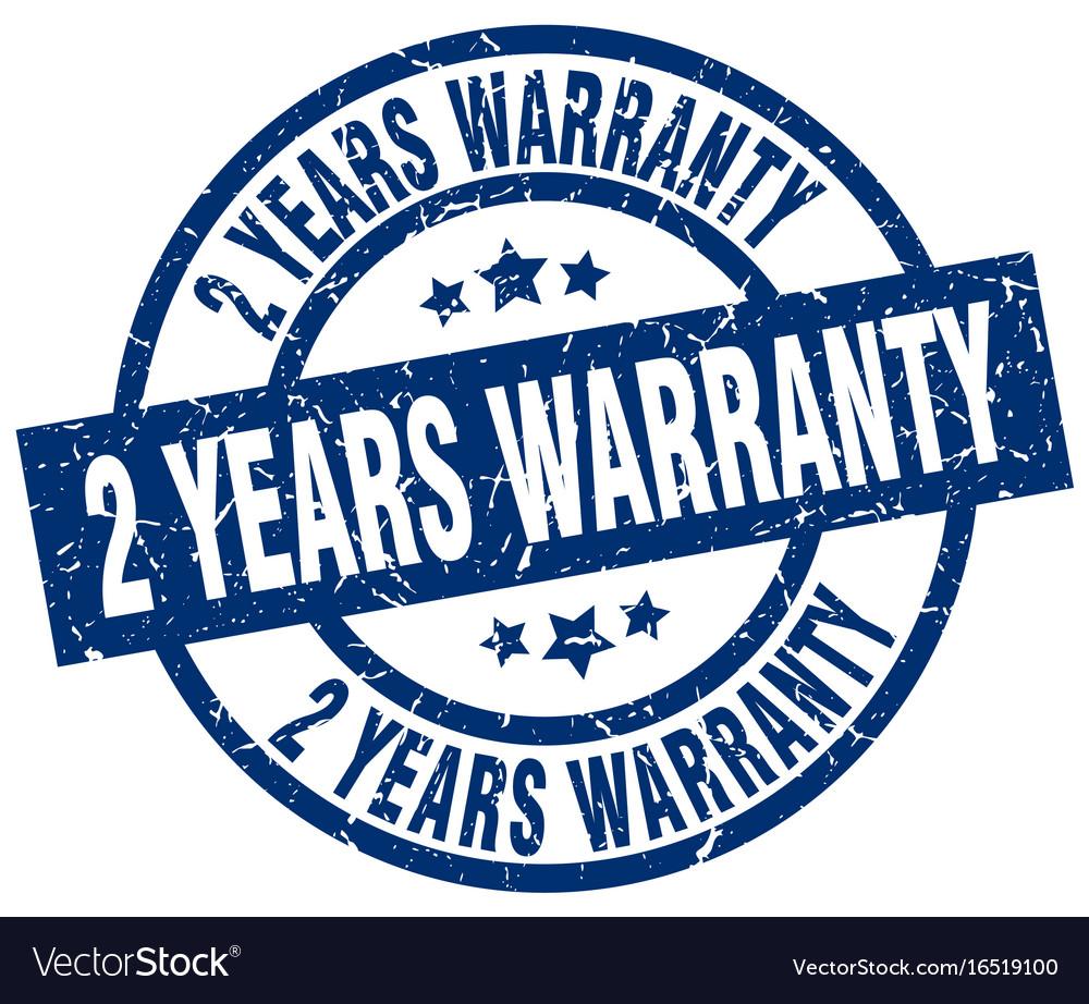 2 years warranty blue round grunge stamp vector image