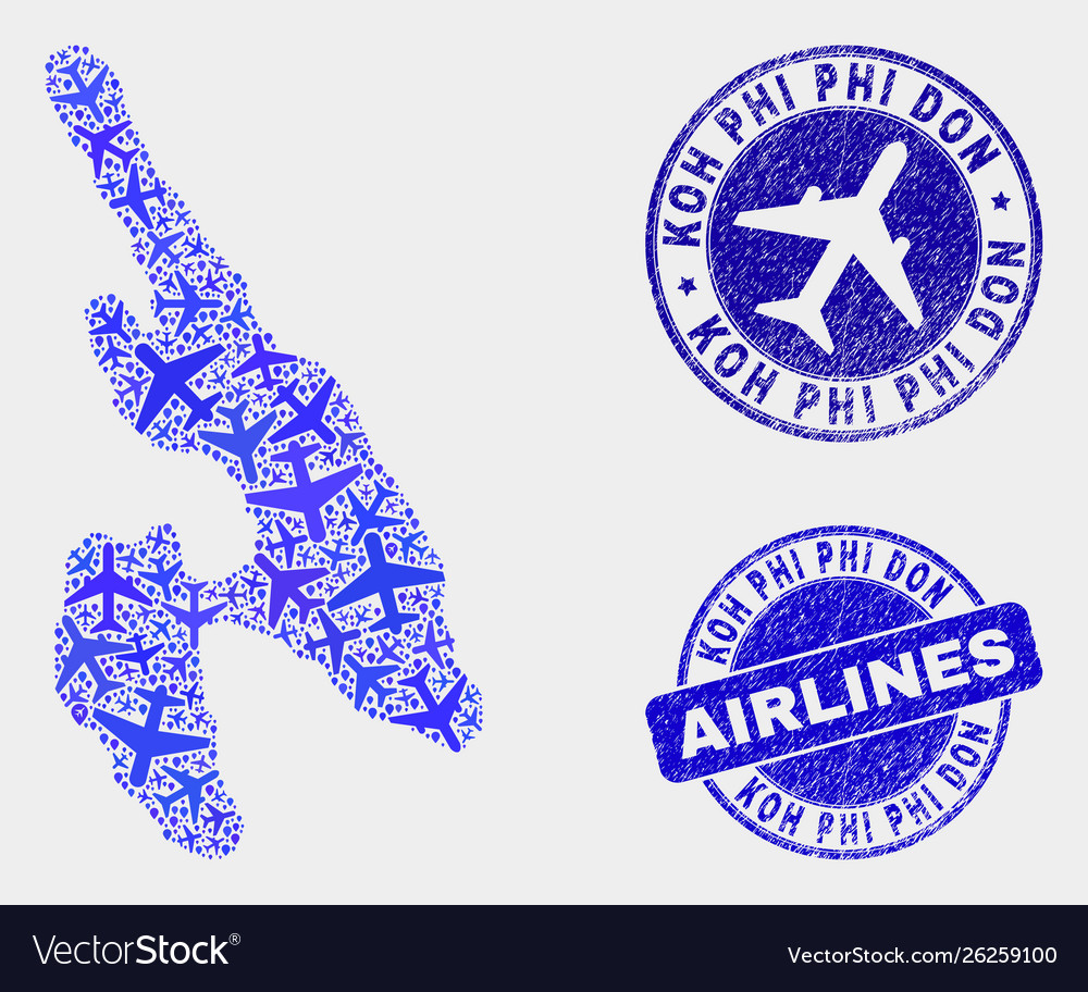 Airlines mosaic koh phi don map and grunge