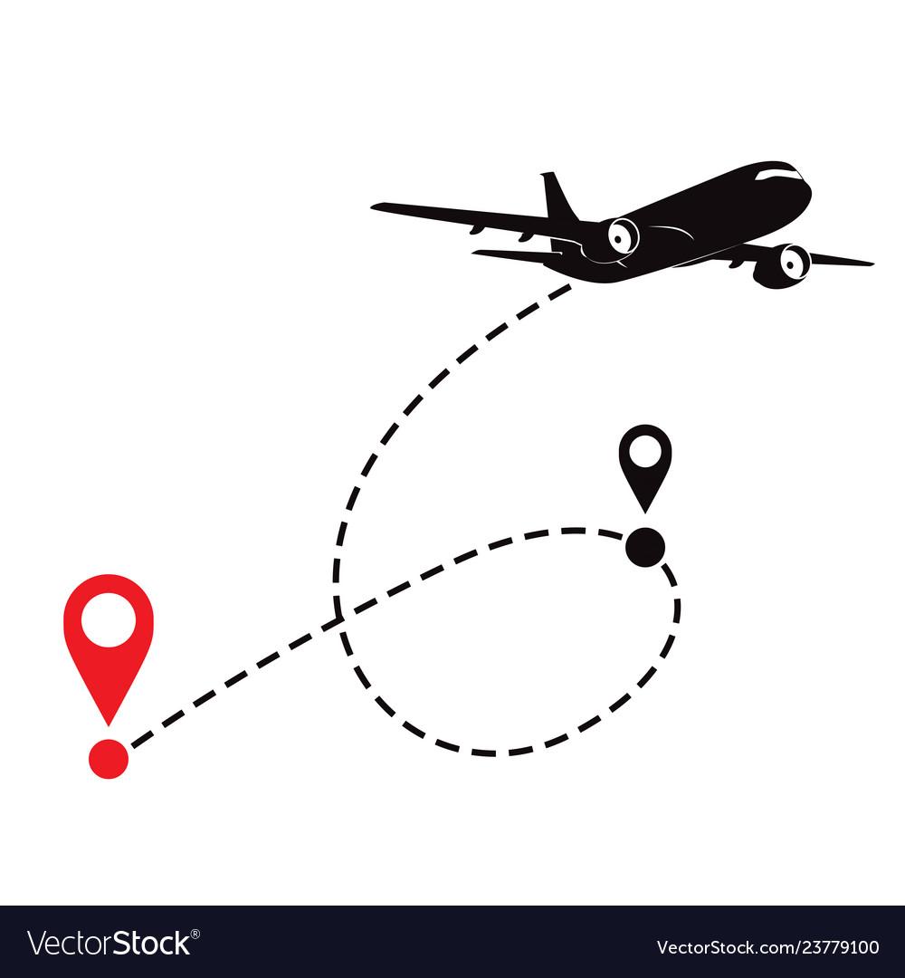 Airplane fligth route or air plane destination
