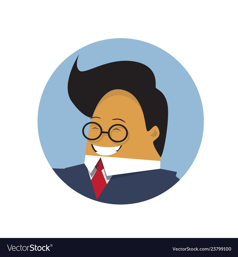 Asian business man profile icon isolated chinese
