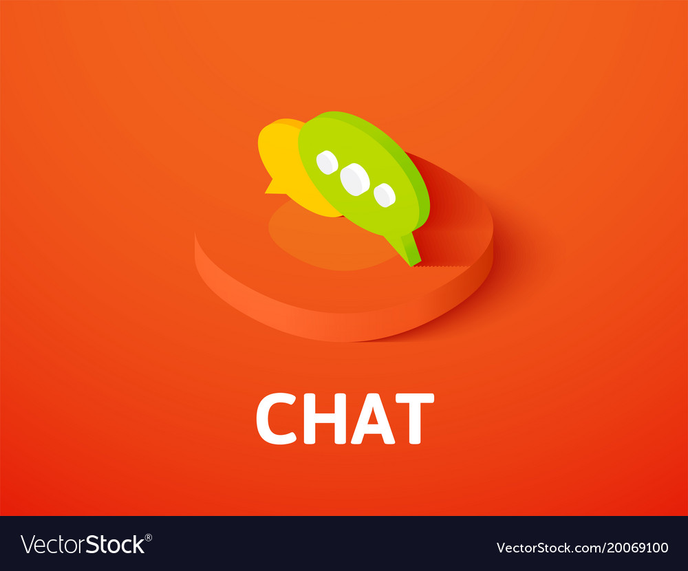 Chat isometric icon isolated on color background