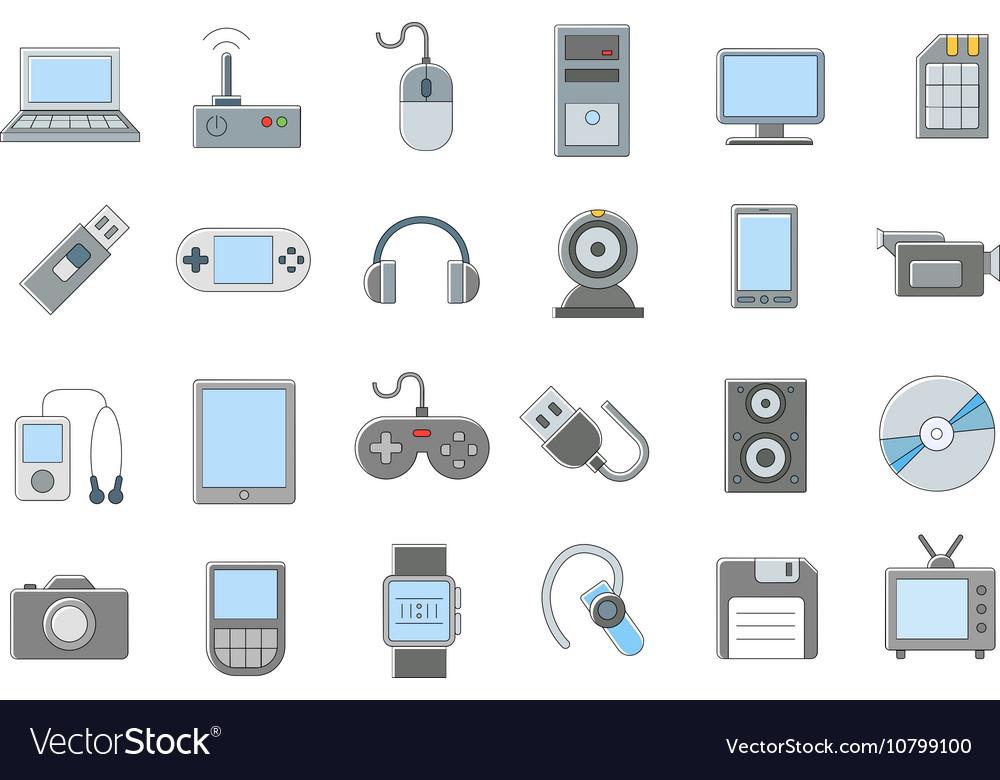 Computer technologies icons set vector image