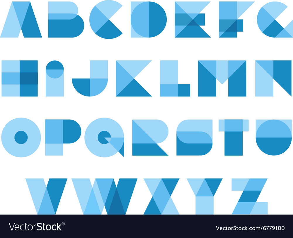 Geometric shapes font alphabet Overlay transparent vector image