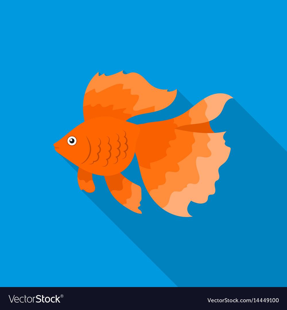 Gold fish icon flat singe aquarium fish icon from vector image