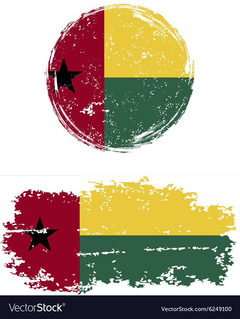 Guinea-Bissau round and square grunge flags