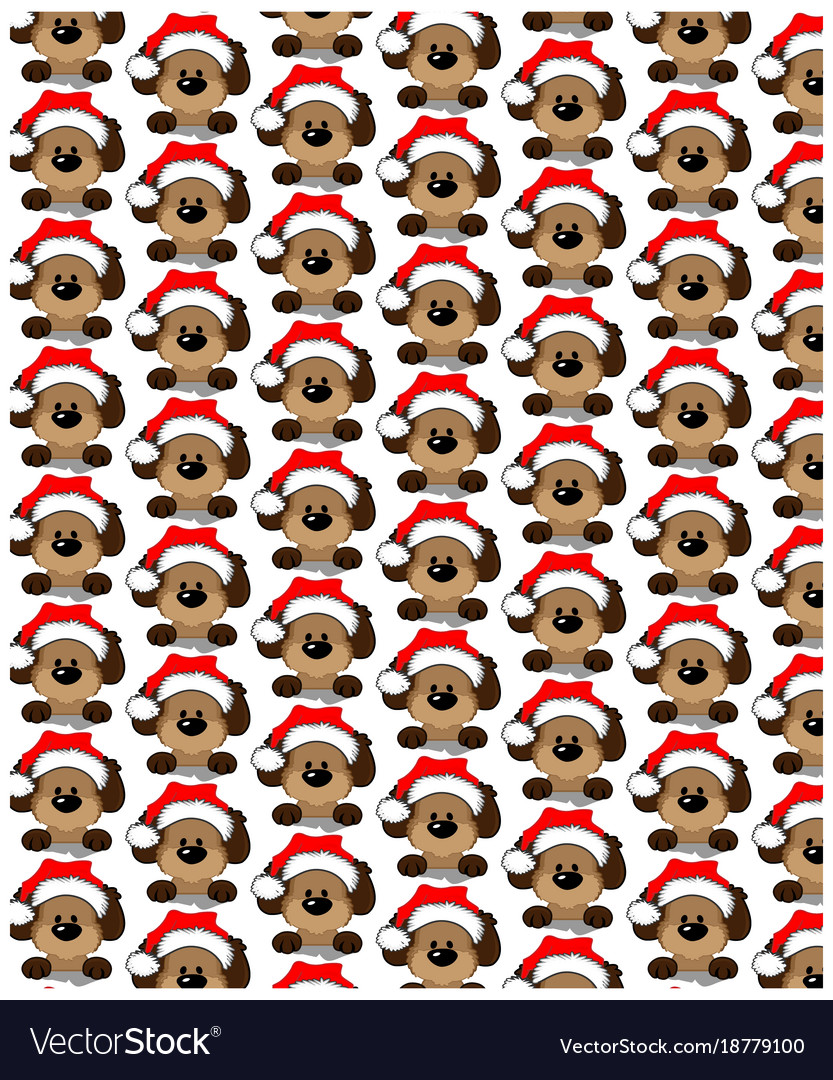 Holidays seamless pattern with funny dog happy