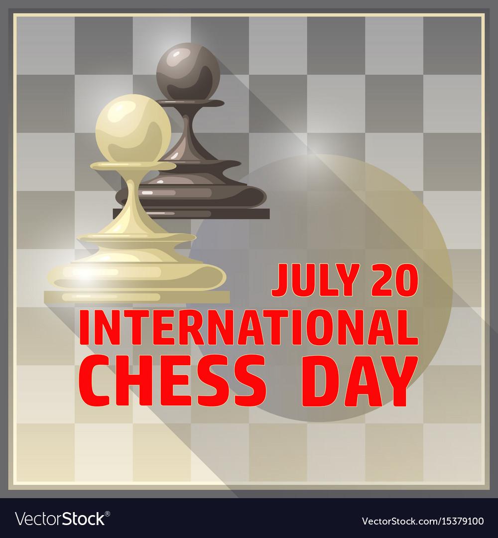 International chess day card july 20 holiday