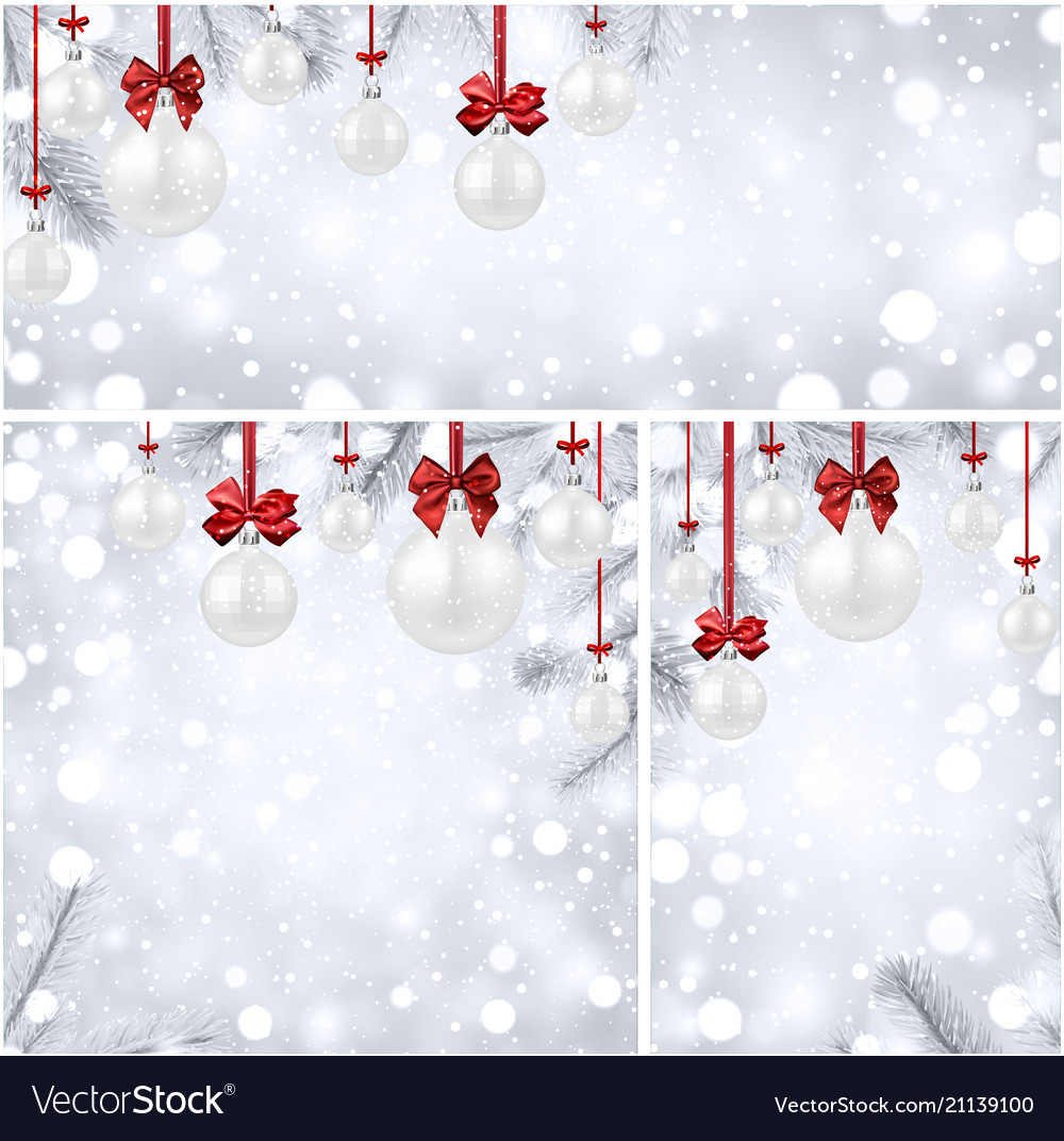 new year backgrounds with white christmas balls vector image
