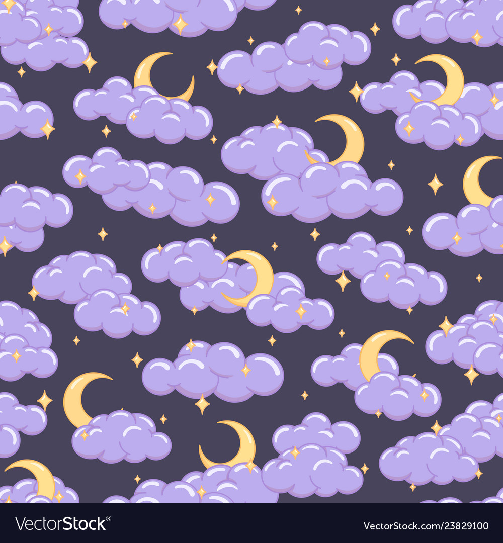 Night sky seamless pattern with clouds stars moons