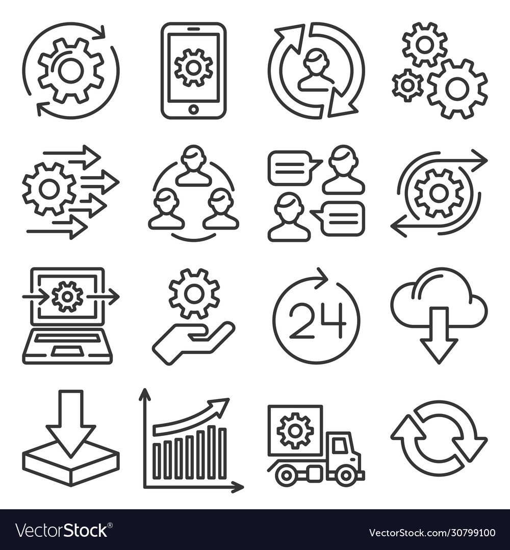 Process icons set on white background line style vector