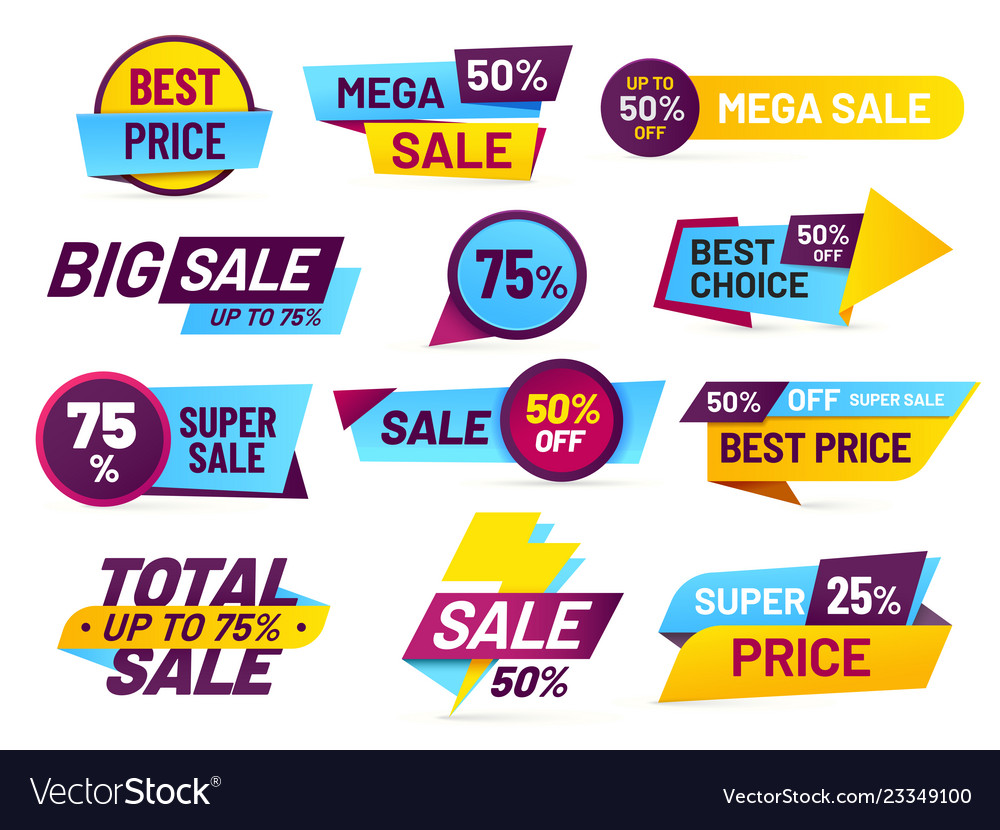 Sale tags retail sales stickers promotion price