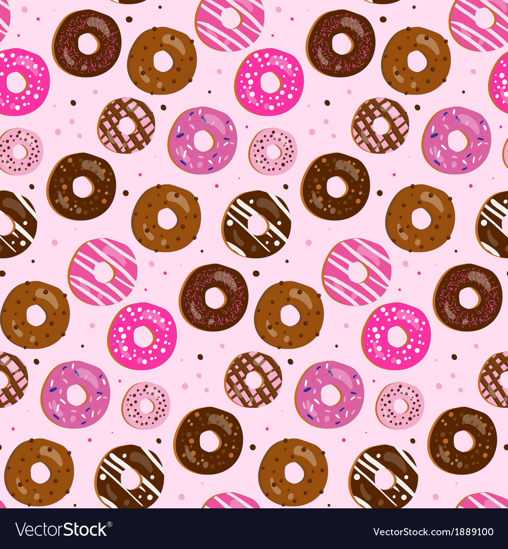 Seamless pattern of assorted donut