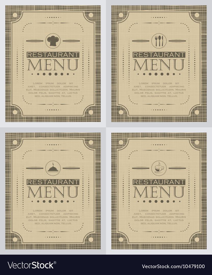Set of creative restaurant menu cover design vector image