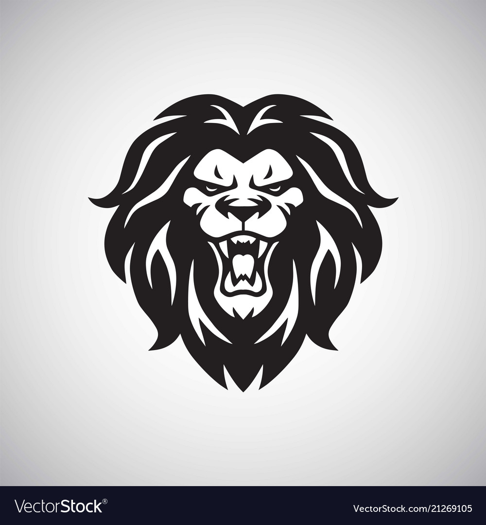 Angry lion roaring logo