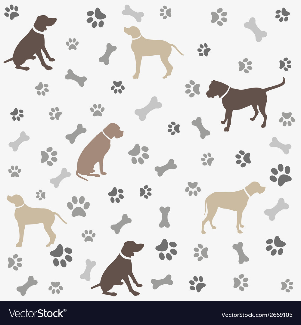 47a02553811f Background with dogs paw print and bone Royalty Free Vector