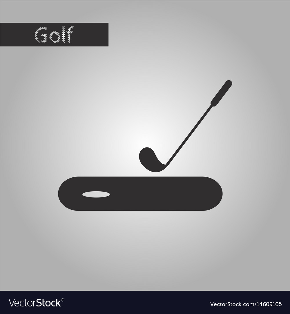 Black and white style icon golf stick and hole