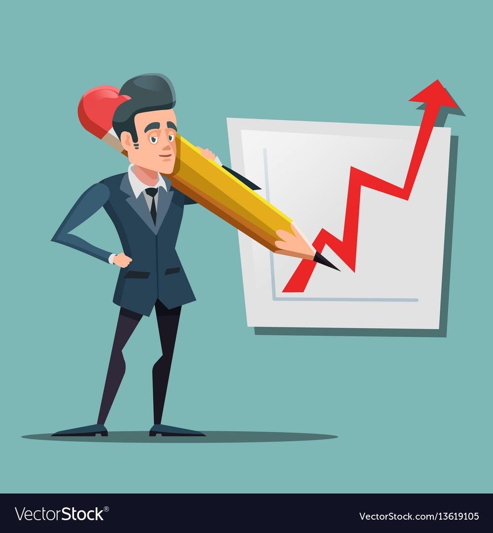 Cartoon businessman with big pencil drawing graph