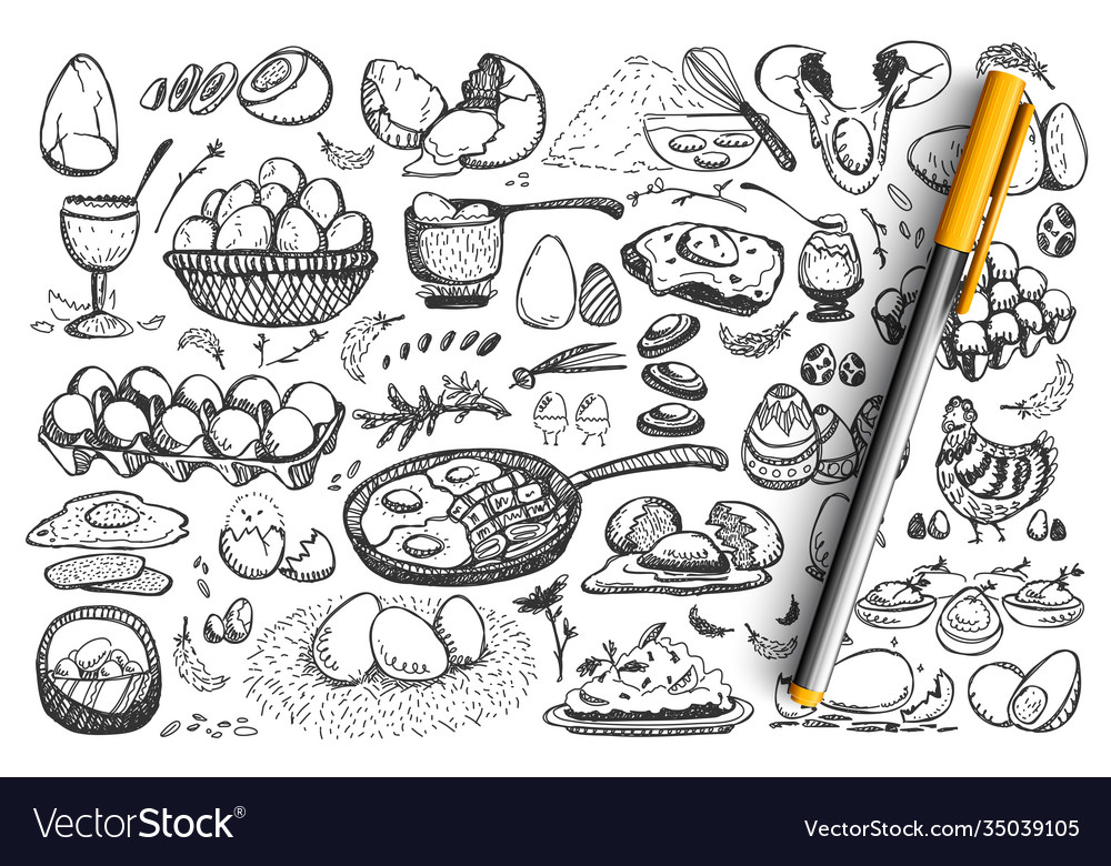 Chicken eggs doodle set collection
