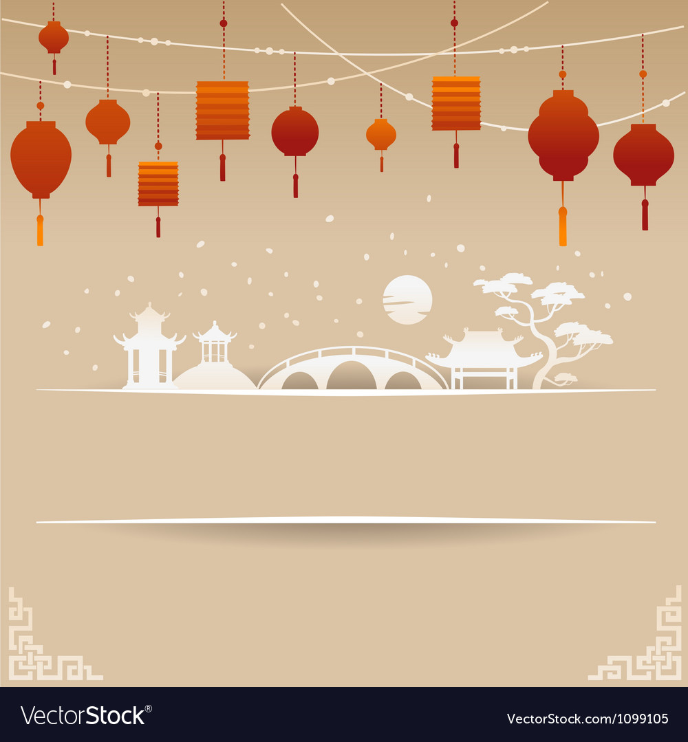 Decorative Chinese Background with Red Lamp and Sn