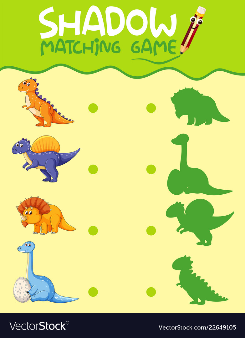 graphic about Dinosaur Matching Game Printable referred to as Dinosaur matching shadow match template