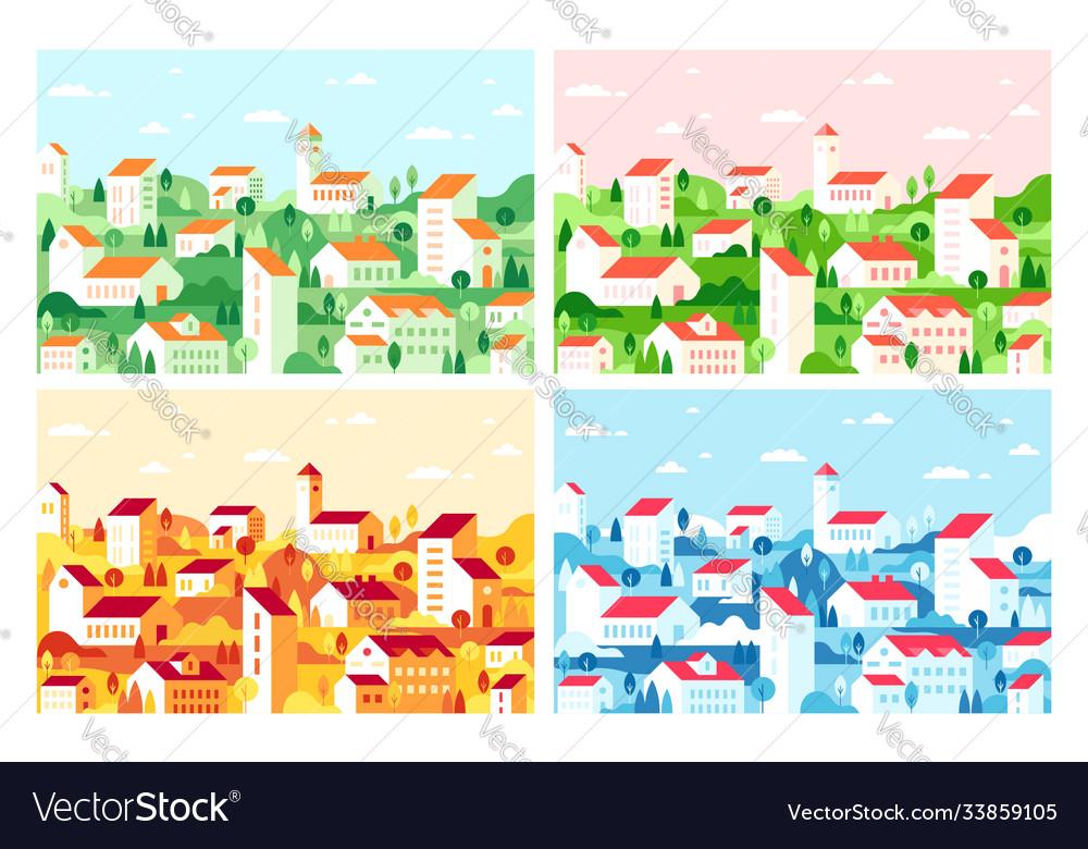Geometric minimalist city flat city landscape