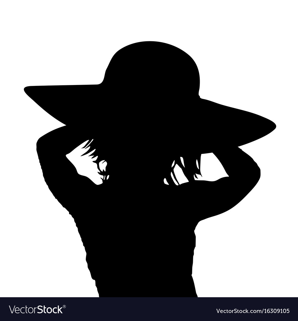 Girl silhouette with hat in black color vector image