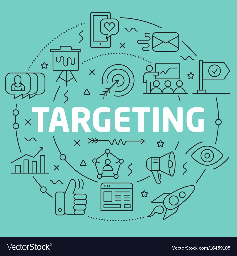 Green line flat circle targeting vector image