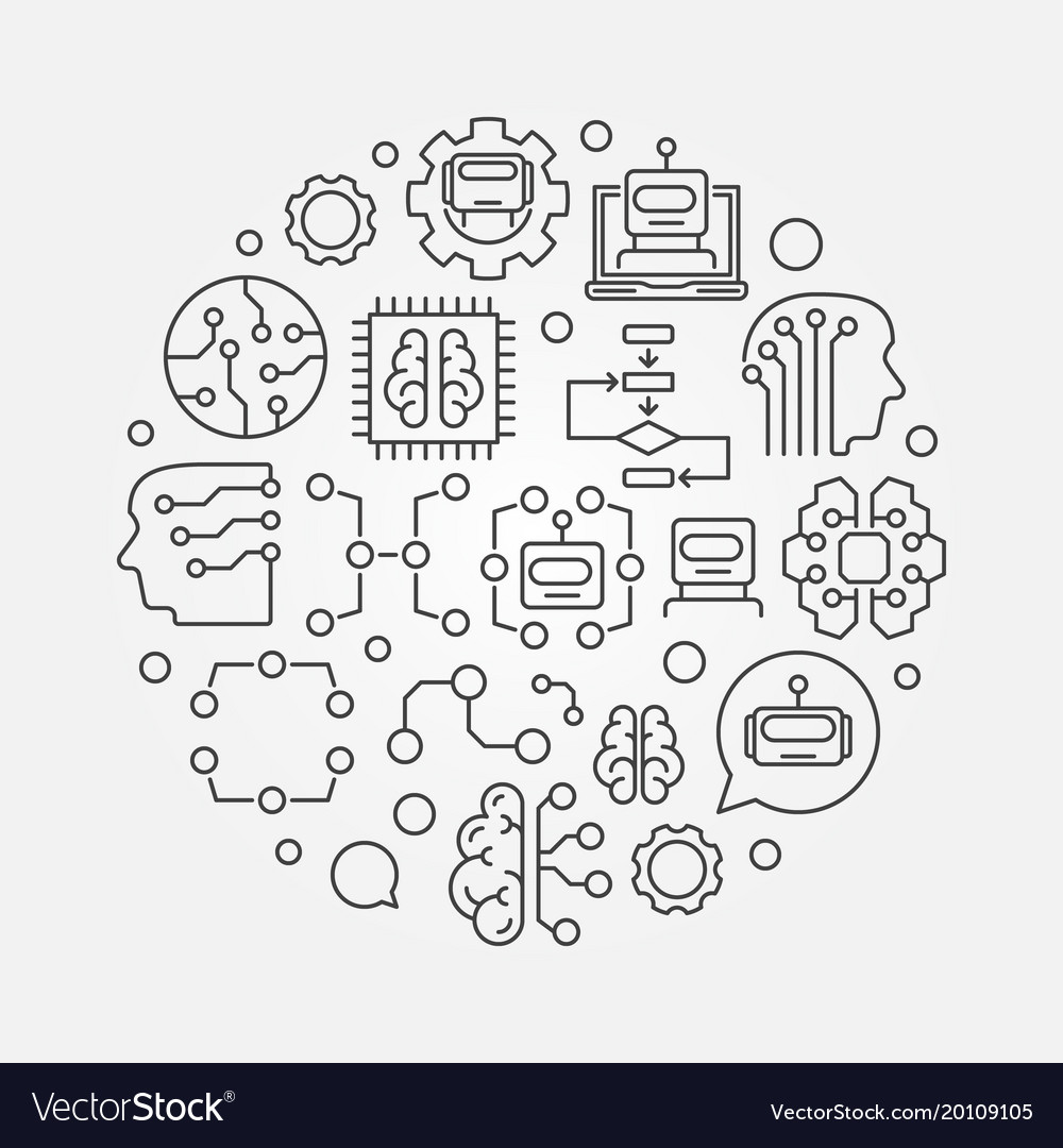 Machine Learning Circular Technology Royalty Free Vector