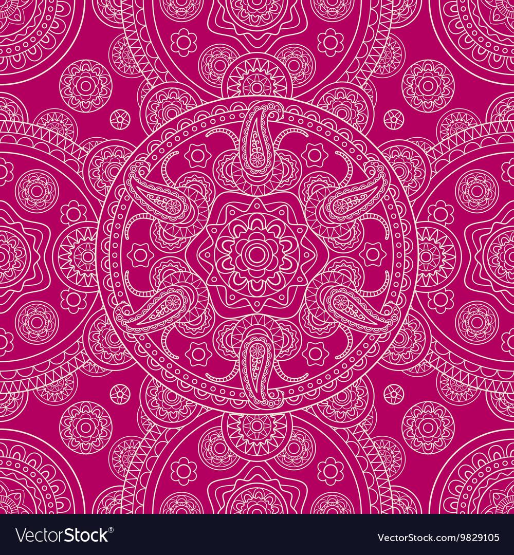 Pink ethnic ornate boho doodle seamless pattern vector image
