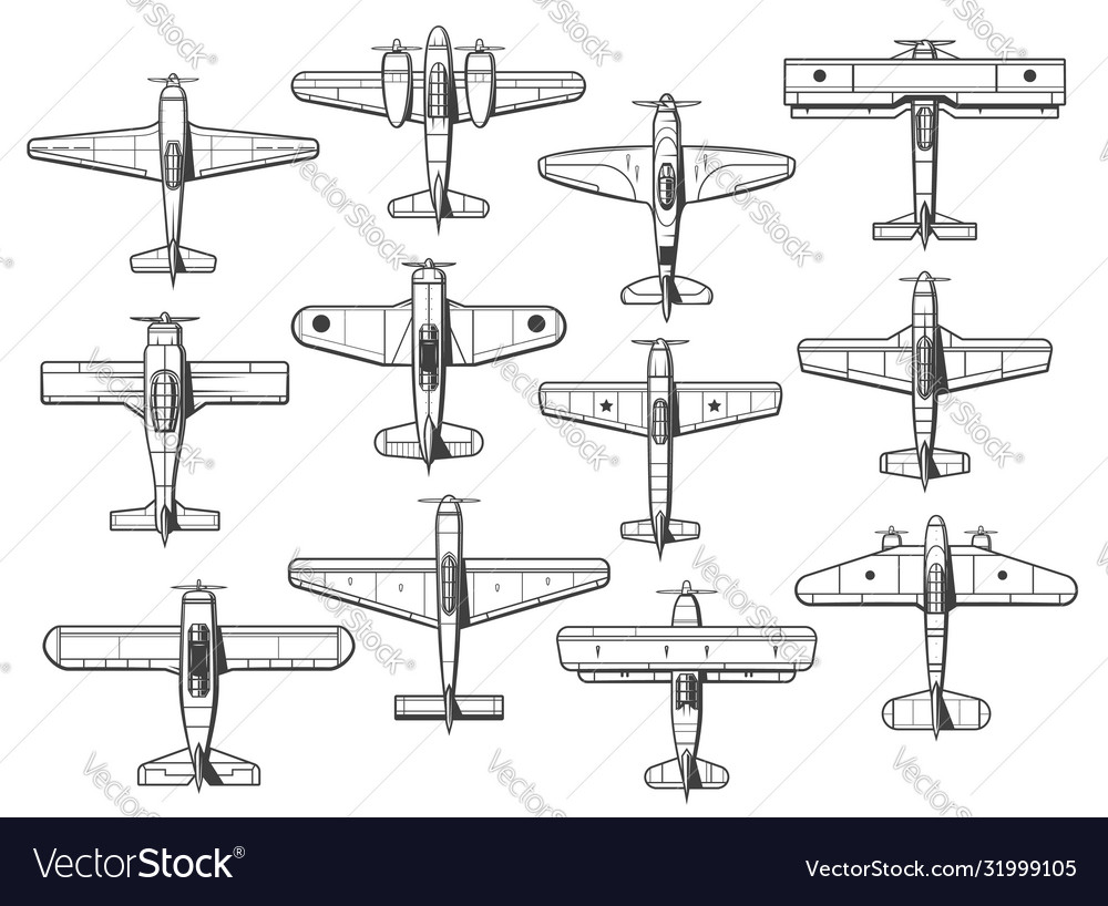 Plane icons airplanes and aircraft icons retro