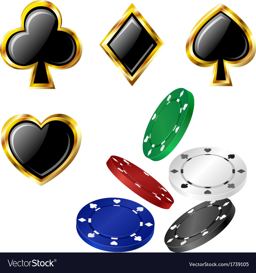 Poker card icon and chip set
