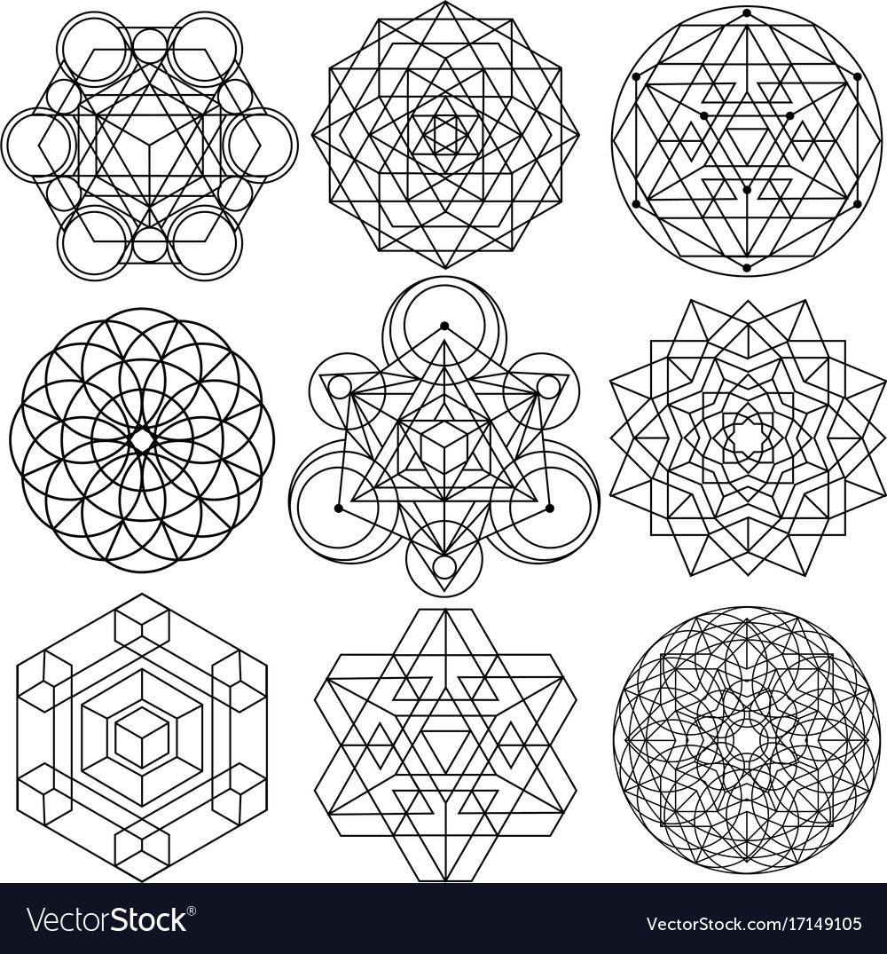 sacred geometry symbols set 04 royalty free vector image