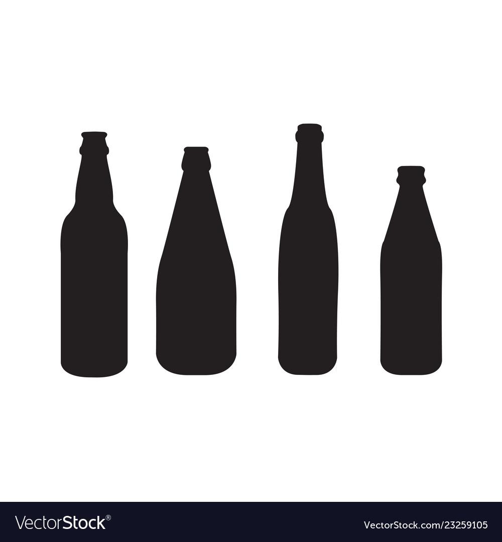 Set of 4 beer bottles silhouettes