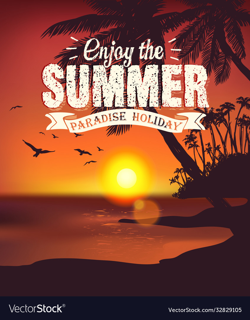 Summer sunset card
