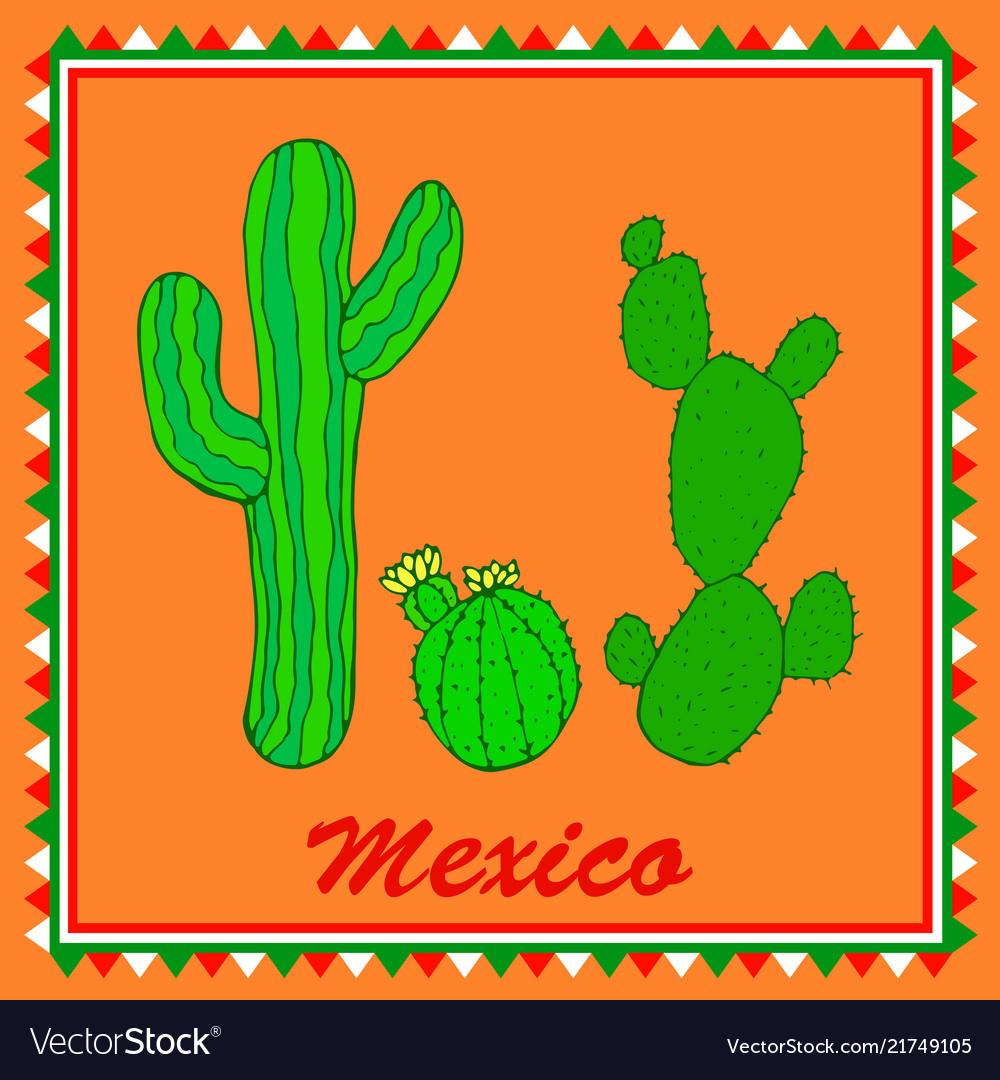 Three green cactuses on orange background