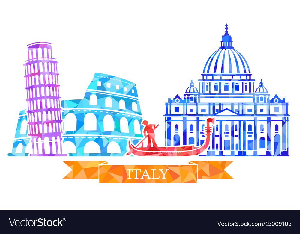 Traditional symbols of italy in polygonal style