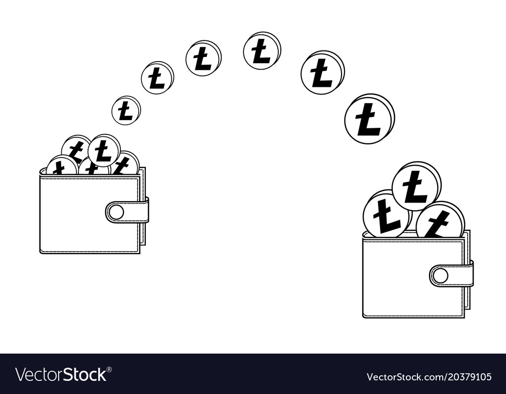 Transfer litecoin from one wallet to another vector image on VectorStock