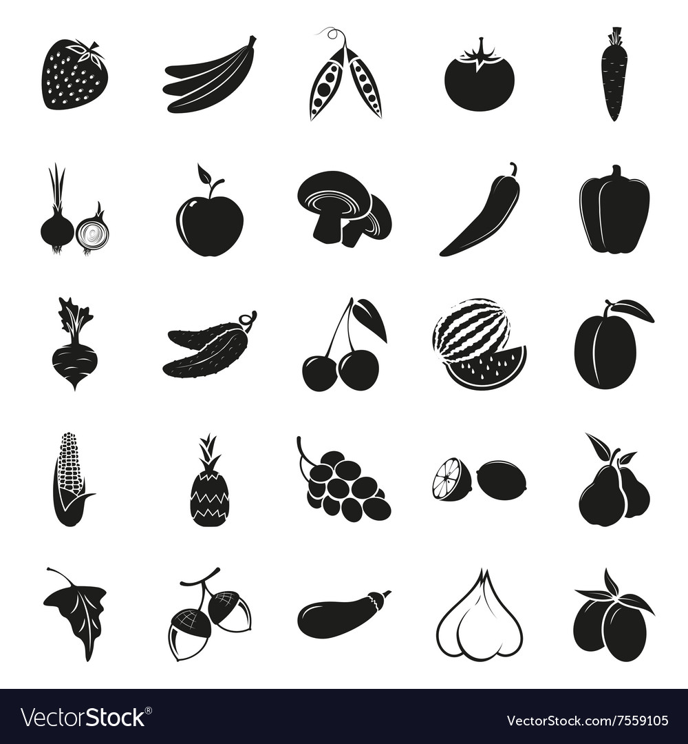 Vegetarian delicious food black simple icons set