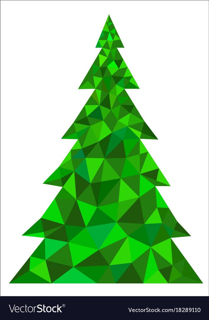 Abstract green polygonal christmas tree