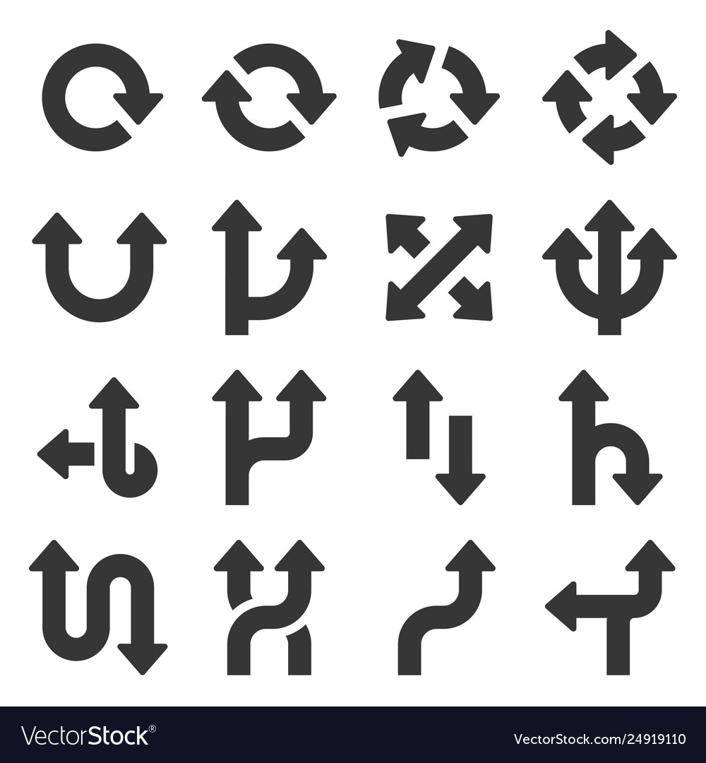 Arrows icons set on white background