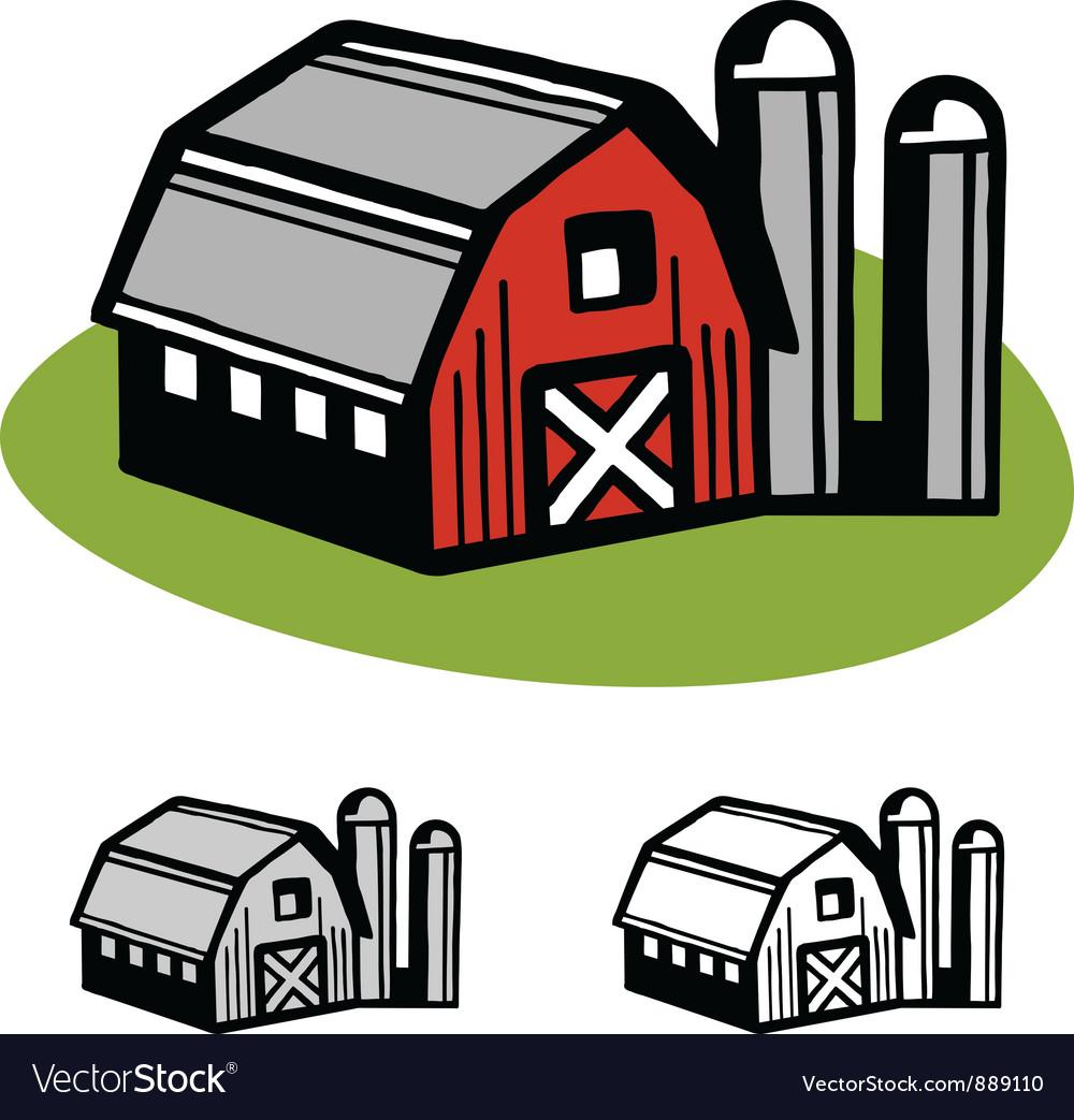 Barn and silos Royalty Free Vector Image - VectorStock