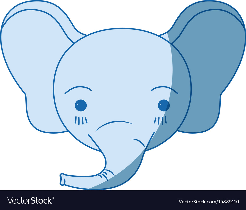 Blue color shading silhouette cute face of