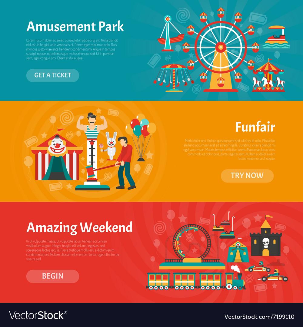 Funfair banner set vector image