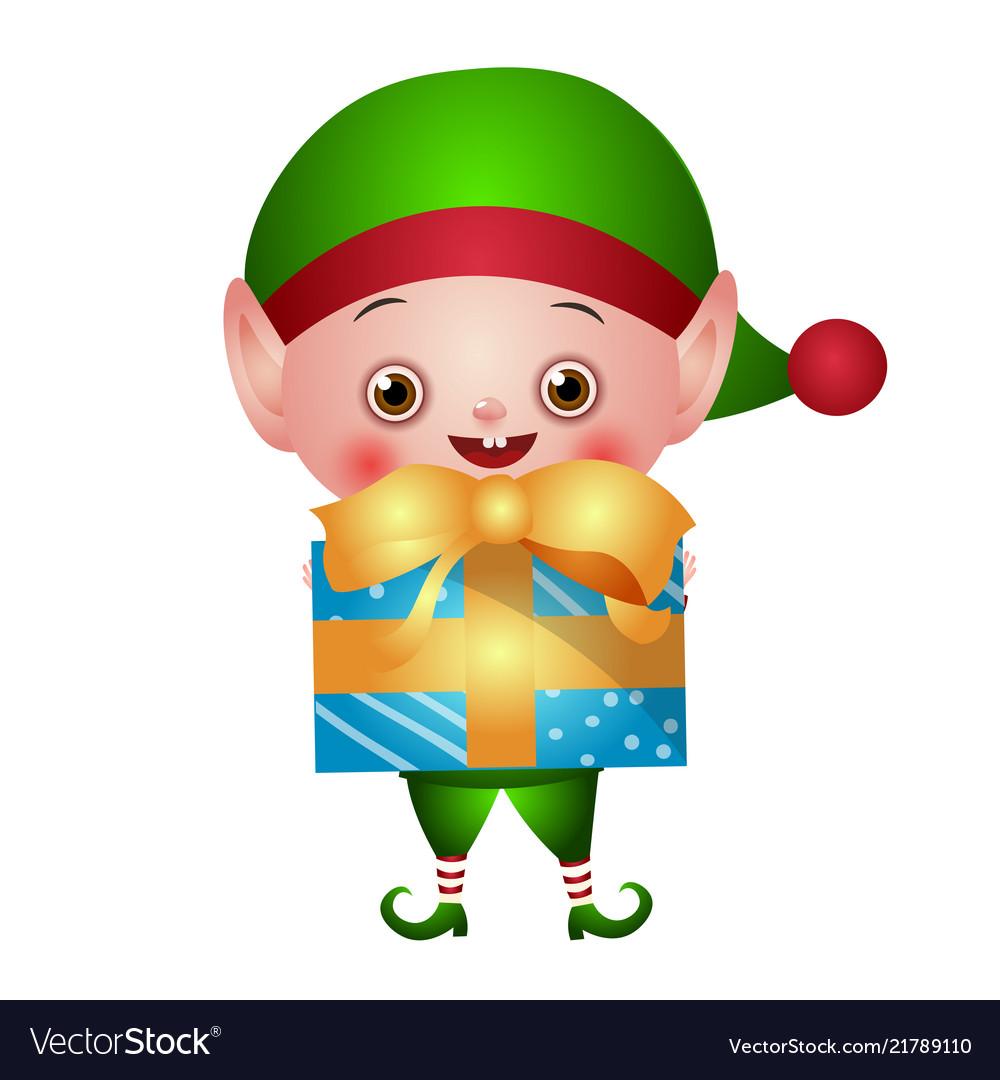 Green christmas elf with gift box