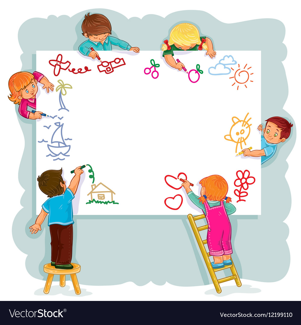 Happy children together draw on a large sheet of