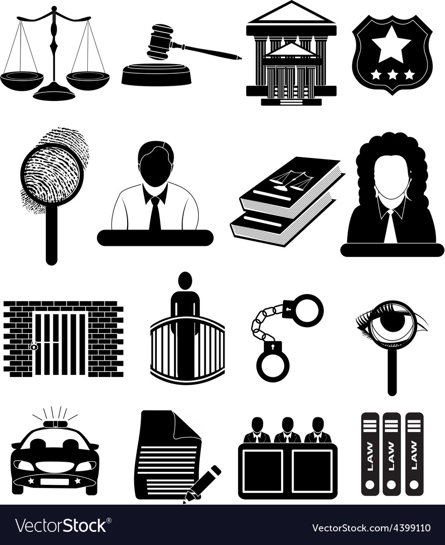 Law court icons set