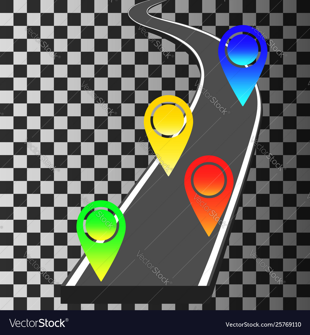 Navigation template with colored pin pointers and