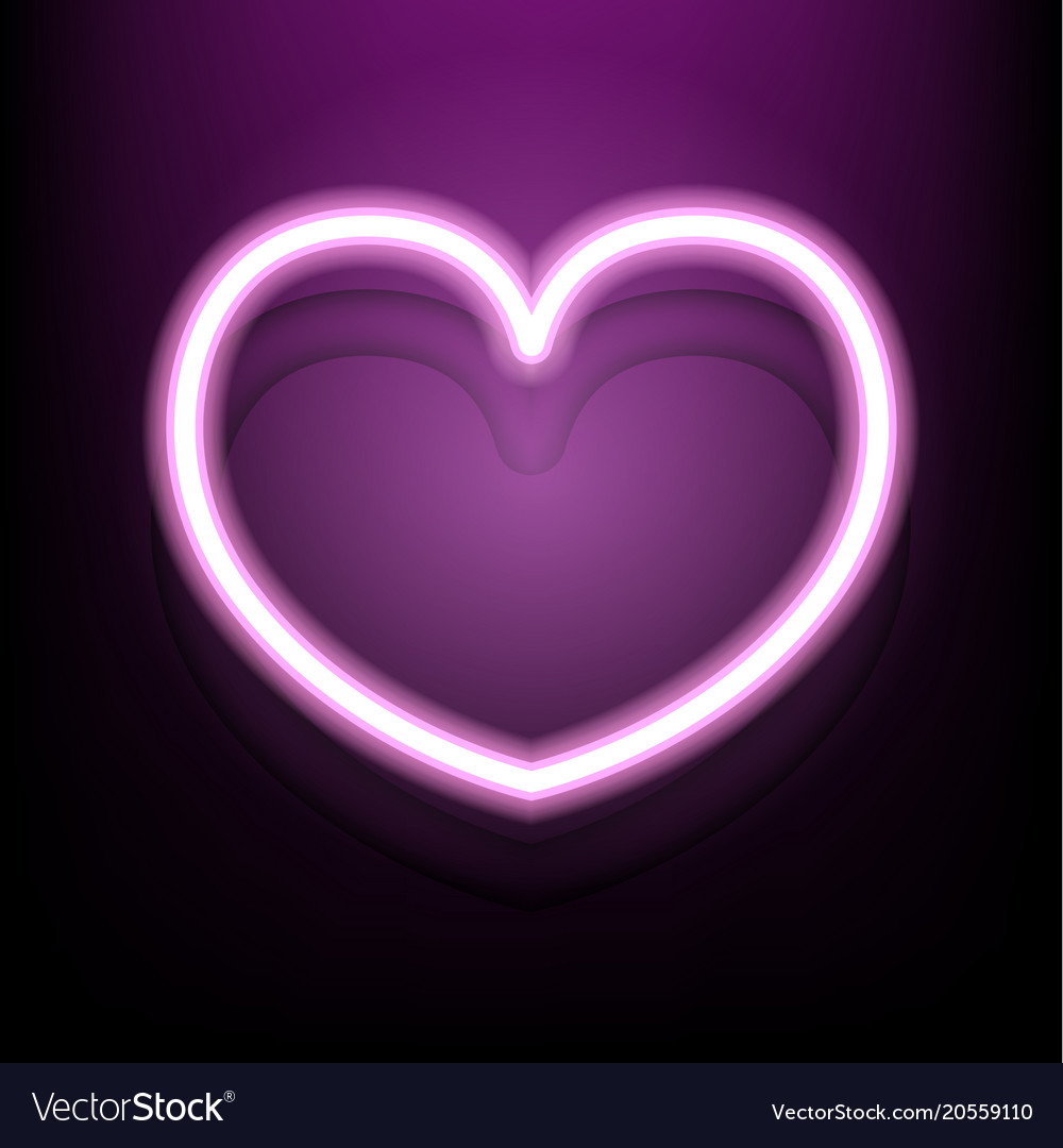 Neon heart on dark pink background