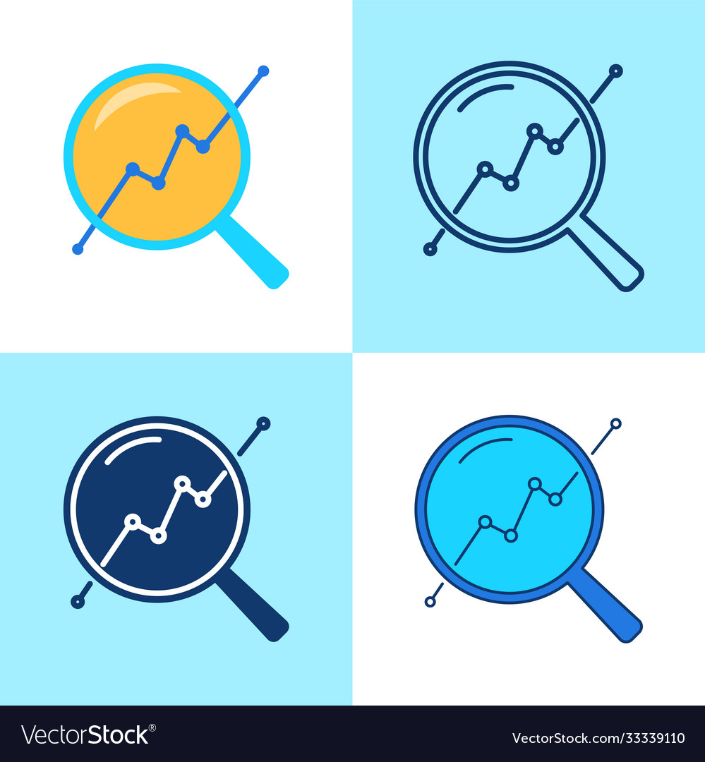 Progress monitoring icon set in flat and line