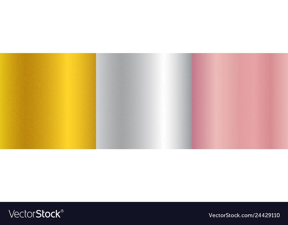 Set metallic gold pink gold silver gradient
